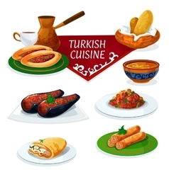 Turkish cuisine traditional dishes cartoon icon vector image vector image