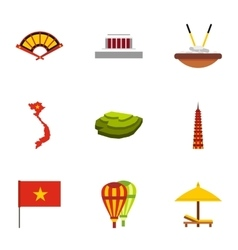 Vietnam icons set flat style vector
