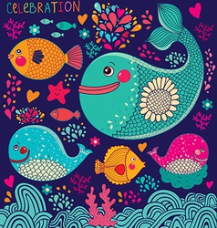 Whales and fish vector