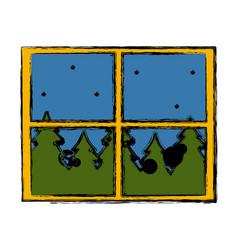 window forest landscape vector image