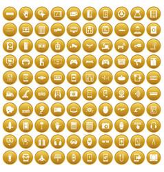 100 adjustment icons set gold vector