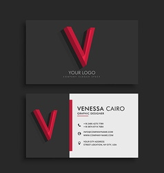 Clean dark business card with letter v vector