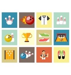 Bowling flat icons game signs vector