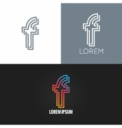 letter F logo alphabet design icon set background vector image