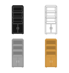 Office bookcase icon in cartoon style isolated on vector