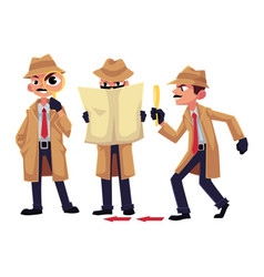detective character with magnifying glass vector image