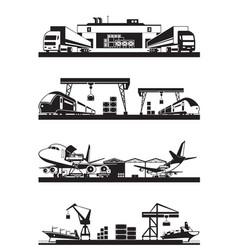 Transport cargo terminals vector