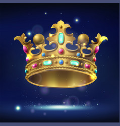 Realistic gold crown with precious stones vector