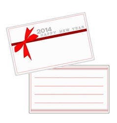 2014 new year cards with red ribbon vector