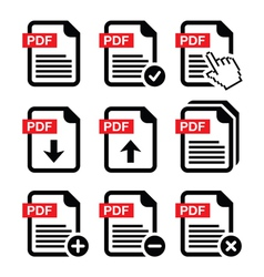 Pdf download and upload icons set vector