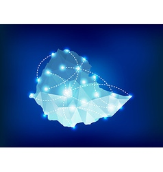 Ethiopia country map polygonal with spot lights vector