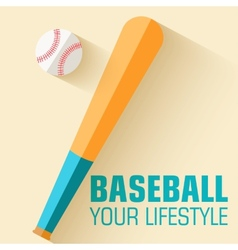 Flat sport icon baseball background concept vector image