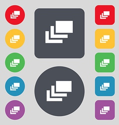 Layers icon sign a set of 12 colored buttons flat vector