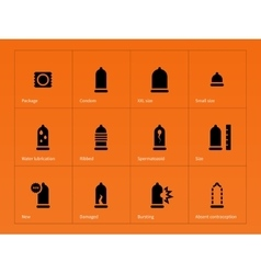 Health care condom icons on orange background vector
