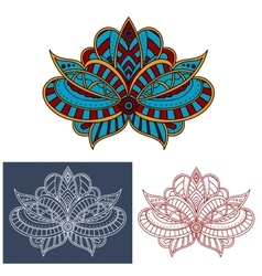 Persian paisley flower with curly elements vector