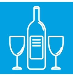 Wine bottle and glasest hin line icon vector