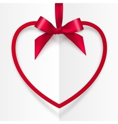 Red frame hanging on silky ribbon with bow vector image