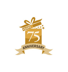 75 years gift box ribbon anniversary vector image