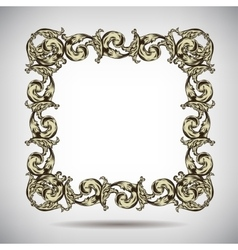 Antique vintage floral ornamental frame on white vector