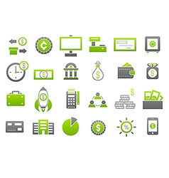 Banking gray greem icons set vector