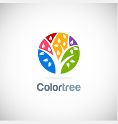 abstract tree colorful logo vector image