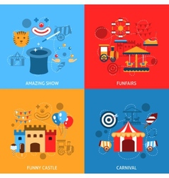 Amusements park flat set vector