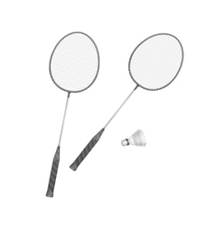 Badminton rackets with shuttlecock vector
