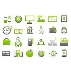 Banking gray greem icons set vector image