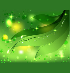 Beautiful green background with leaves and dew vector