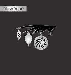 Black and white style icon of christmas tree toys vector