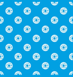 chocolate donut pattern seamless blue vector image