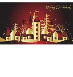 Christmas card with town vector image