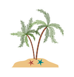 Color silhouette of island with palm trees and vector