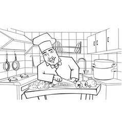 Cook in the kitchen vector