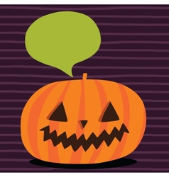 Cute funny Halloween pumpkin with bubble speech vector image vector image