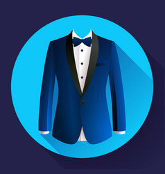 Dark blue man suit icon vector