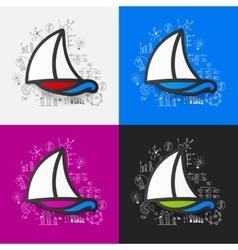 Drawing business formulas sailboat vector