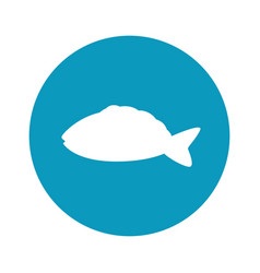 Fish round icon vector