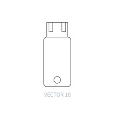 Flat line computer part icon - flash drive vector