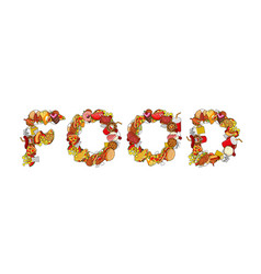 food typography letters of feed lettering of meat vector image