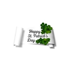 Green clovers on white paper ribbon with shadow vector image