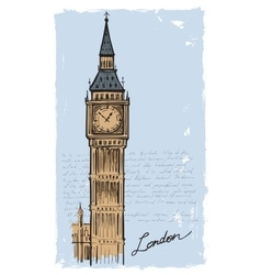 Hand drawn big ben vector