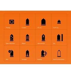 Health care condom icons on orange background vector