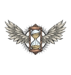 Hourglass and wings Color version vector image vector image