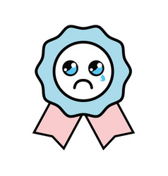 Kawaii cute crying medal prize vector