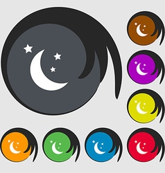 moon icon sign Symbols on eight colored buttons vector image vector image
