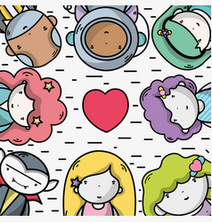 People together to kawaii avatar icon vector