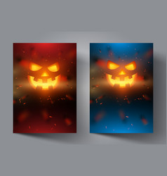 pumpkin face on modern colourful background vector image vector image