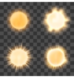 Realistic sun on transparent background vector