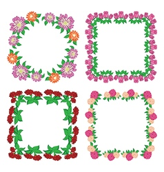 square floral frames - flowers vector image vector image